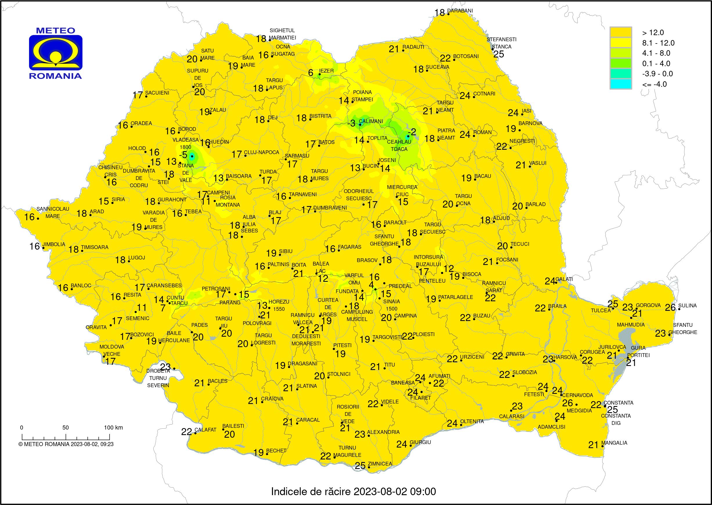 Temperaturi Inregistrate Acum. Minime si Maxime ale zilei inregistrate in Romania