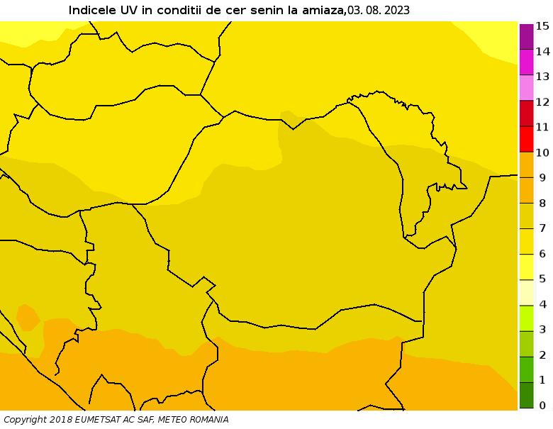 Harta indicelui de radiatie ultravioleta